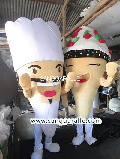 Kostum Maskot Perusahaan Crun's Cones